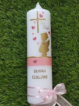 Taufkerze SK154-a SCHUTZENGEL Gold-Rosa-Altrosa Holoflitter / Engel in Gold mit Herzen / Goldschrift
