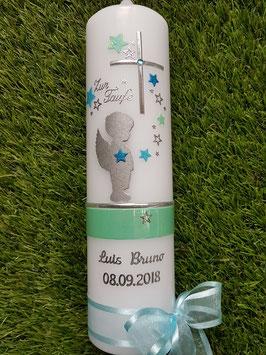 Taufkerze SK154-a SCHUTZENGEL mit Sterne in Zartmint-Pastellblau-Türkis Holoflitter / Silberschrift