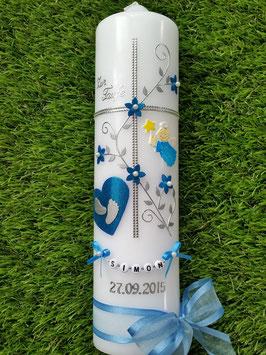 Taufkerze Kreuz TK109-5 Mittelblau Flitter-Silber