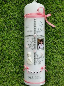 Taufkerze TK109-8 Rosa -Silber mit Foto & weißen Engel!