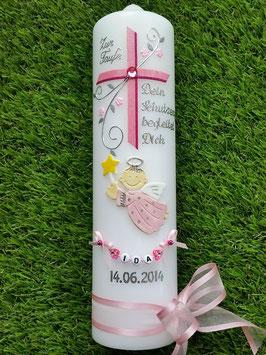 Taufkerze SK150 Schutzengel mit Kreuz Rosa-Pink Hololfitter / Buchstabenkette / Satin-Organzaschleife