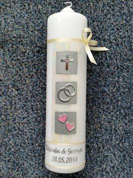 Sehr edle Hochzeitskerze HK210 Perlmutt-Creme-Rosa Silber mit Kreuz