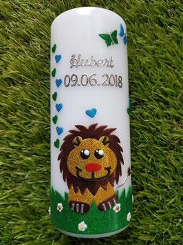 Paten oder Tischkerze Löwe TK186 Braun-Gelb-Türkis-Grasgrün Holoflitter / Ohne Kreuz