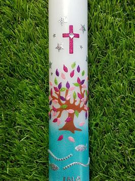 Kommunionkerze  Lebensbaum KK420 Pink-Rosa-Brombeerlila-Apfelgrün Holoflitter