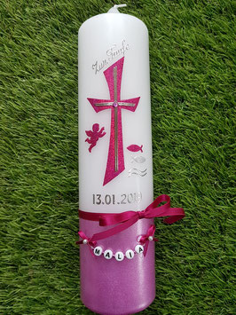 Taufkerze Kreuz TK609-U Pink Holoflitter