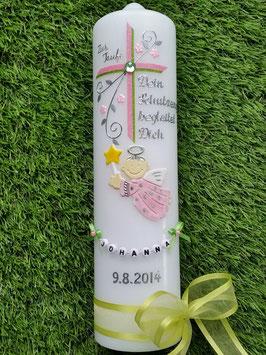 Taufkerze SK150 Schutzengel mit Kreuz Rosa & Apfelgrün Holoflitter / Buchstabenkette
