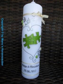 Hochzeitskerze Puzzle HK213 Apfelgrün-Creme