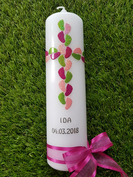Taufkerze TK520 Füsschenkreuz Apfelgrün-Rosa-Pink