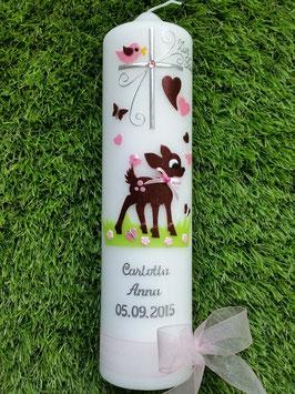 Taufkerze Bambi TK188 Braun-Rosa Flitter Silberschrift