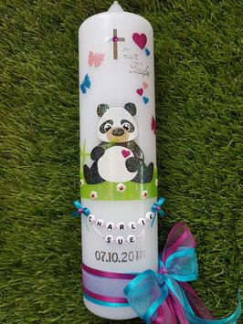 Taufkerze TK196 Panda Mädchen Schwarz-Weiß-Rosa-Pink-Türkis Holoflitter & Buchstabenkette