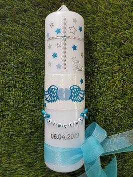 Taufkerze TK094 Füsschen mit Engelsflügel Türkis-Hellblau Holoflitter mit Silber