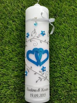Hochzeitskerze Türkis Holoflitter & Silber HK204 / ohne Herzumrandung
