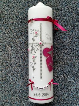 Taufkerze TK106 Klassisch Pink Holoflitter