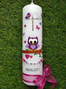 Taufkerze EULE das Original mit Kette TK181 in Pink-Brombeerlila-Flieder Flitter / Ohne Schnörkel am Kreuz