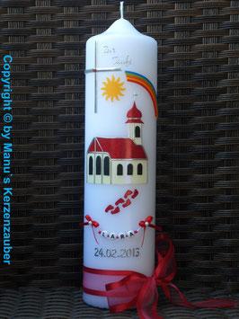 Taufkerze TK210 Kirche mit Zwiebelturm Rot Flitter