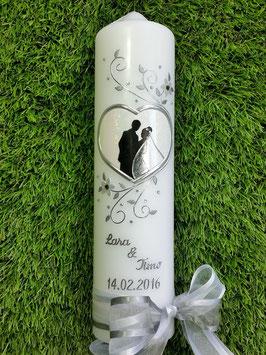 """Hochzeitskerze """"Brautpaar im Herzen"""" HK097 Weiß Holoflitter"""