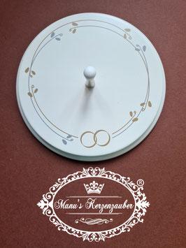 Kerzenständer mit Blätterkranz & Ringe KST 096-5 aus Holz / Silber & Gold
