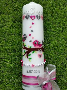 Taufkerze Vögelchen TK 214 Pink-Rosa-Anthrazit Flitter >> Schleifen Pink/Silber