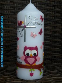 Patenkerze oder Tischkerze EULE das Original mit Silberschrift TK180 in Pink-Rosa Flitter