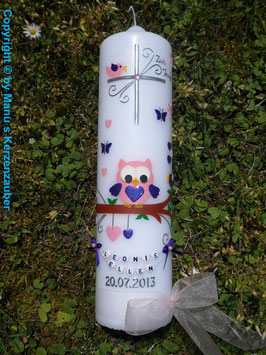 Taufkerze EULE das Original mit Buchstaben-Kette TK181 in Rosa-Dunkellila Flitter