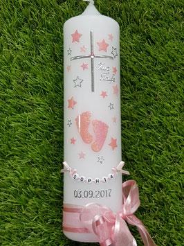 Taufkerze TK096 Große Füsschen Rosa-Zartrosa Holoflitter mit Silber