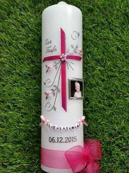 Taufkerze TK130 sehr edel mit Foto Pink Holoflitter