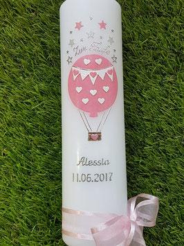 Taufkerze TK105-2 Heißluftballon in Rosa-Weiß Holoflitter
