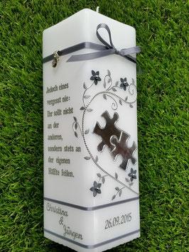 Hochzeitskerze HKS221 Puzzle Silber Glänzend / Bänder Silber