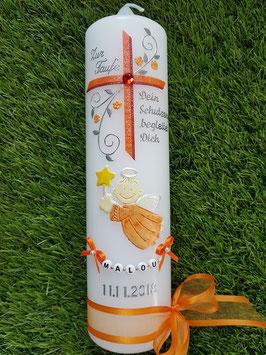 Taufkerze SK150 Schutzengel mit Kreuz Orange-Altrot / Satin-Organzaschleife / Buchstabenkette