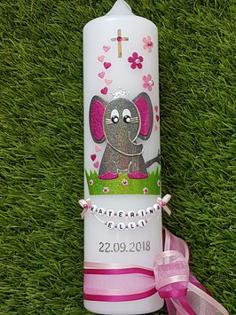 Taufkerze Elefant TK210-8 Anthrazit-Pink-Rosa-Altrosa Holoflitter