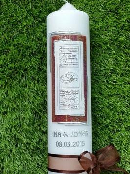 Hochzeitskerze HK102 Braun-Weiß Holoflitter