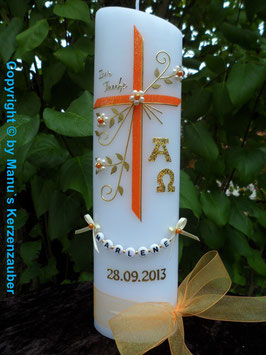 Taufkerze TK138 mit Alpha & Omega in Orange-Gold