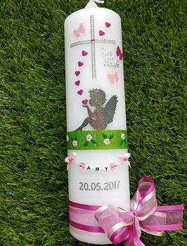 Taufkerze SK154-1 SCHUTZENGEL sitzend Anthrazit-Pink-Rosa Holoflitter