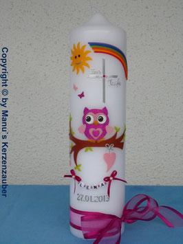 Taufkerze EULE mit Regenbogen TK181 Pink-Rosa Flitter