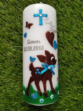 Patenkerze Bambi TK188 Braun-Türkis Holoflitter / Gras Dunkelgrün