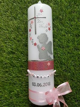 Taufkerze SK153 SCHUTZENGEL Altrosa-Rosa Holoflitter