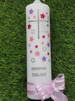 Taufkerze TK126 Kreuz mit Sterne in Rosa-Flieder-Pink Holoflitter mit Silberschrift