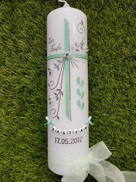 Taufkerze TK135 >> 6 Füsschen in Zartmintgrün Holoflitter
