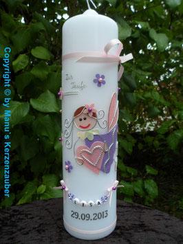 Taufkerze SK116 Schutzengel Mädchen Rosa-Flieder Flitter mit Blüten