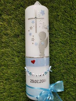 Taufkerze SK154-b SCHUTZENGEL Silber-Zartes Hellblau / Rot Holoflitter & Buchstabenkette