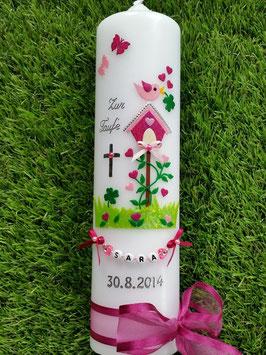 Taufkerze Vogelhäuschen TK 217 Pink-Rosa Flitter