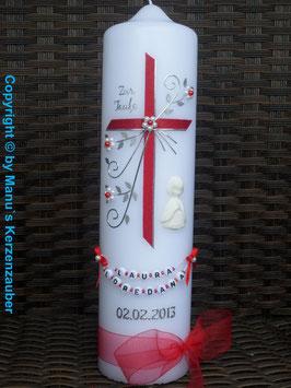 Taufkerze TK130 sehr edel Rot Holoflitter & Engel in weiß