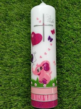 Taufkerze Elefant TK210-5 Rosa-Pink Holoflitter