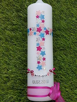 Taufkerze TK201 Kreuz Pink-Rosa-Lichtbalu-Silber Holoflitter & Kette