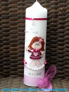 Schutzengelkerze Mädchen öange Haare SK104 Pink Hololfitter / Buchstabenkette