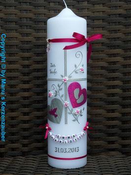 Taufkerze TK109 Klassisch Pink Flitter & Buchstabenkette