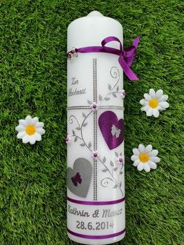 Hochzeitskerze HK109 Brombeerlila Flitter mit Silber