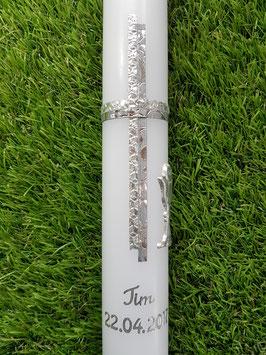Kommunion & Konfirmationskerze KK128 Silber Glanz-Silber Alu
