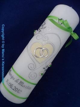 Hochzeitskerze klassisch HK208 Apfelgrün-Creme Uni