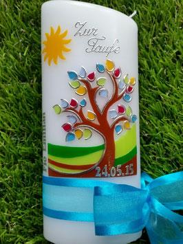 Tisch oder Patenkerze  Lebensbaum mit Sonne, Silberschrift & Türkises Satinband TK400